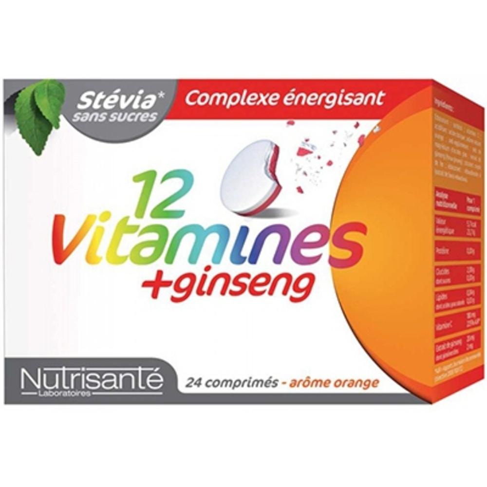 Nutrisante 12 vitamines + ginseng 24 comprimés à croquer - nutrisanté -196158