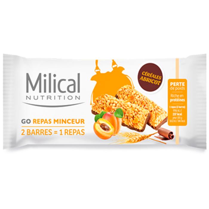 Nutrition barre céréales abricot 31gx2 Milical-223340