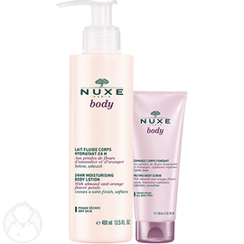 NUXE Body Lait Fluide Corps Hydratant 24h 400ml + Gommage 200ml - 100.0 ml - NUXE -105740