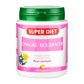 Onagre bourrache bio 200 capsules - 200.0 unites - les super nutriments - super diet Souplesse et élasticité de la peau-4480
