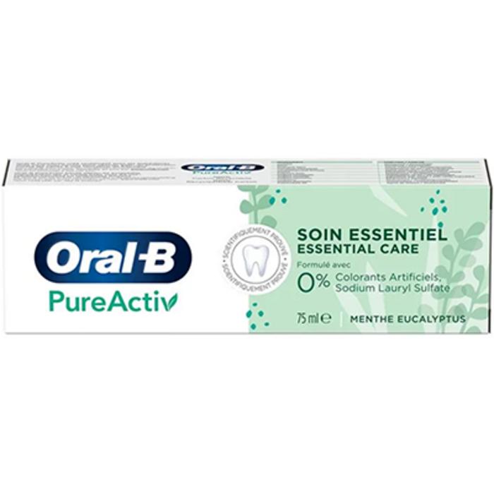 Oral b pureactiv soin essentiel dentifrice menthe eucalyptus 75ml Oral b-227997