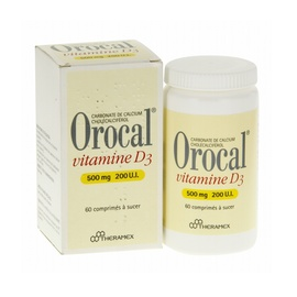 Orocal vitamine d3 500mg/200ui - 60 comprimés - theramex -192302