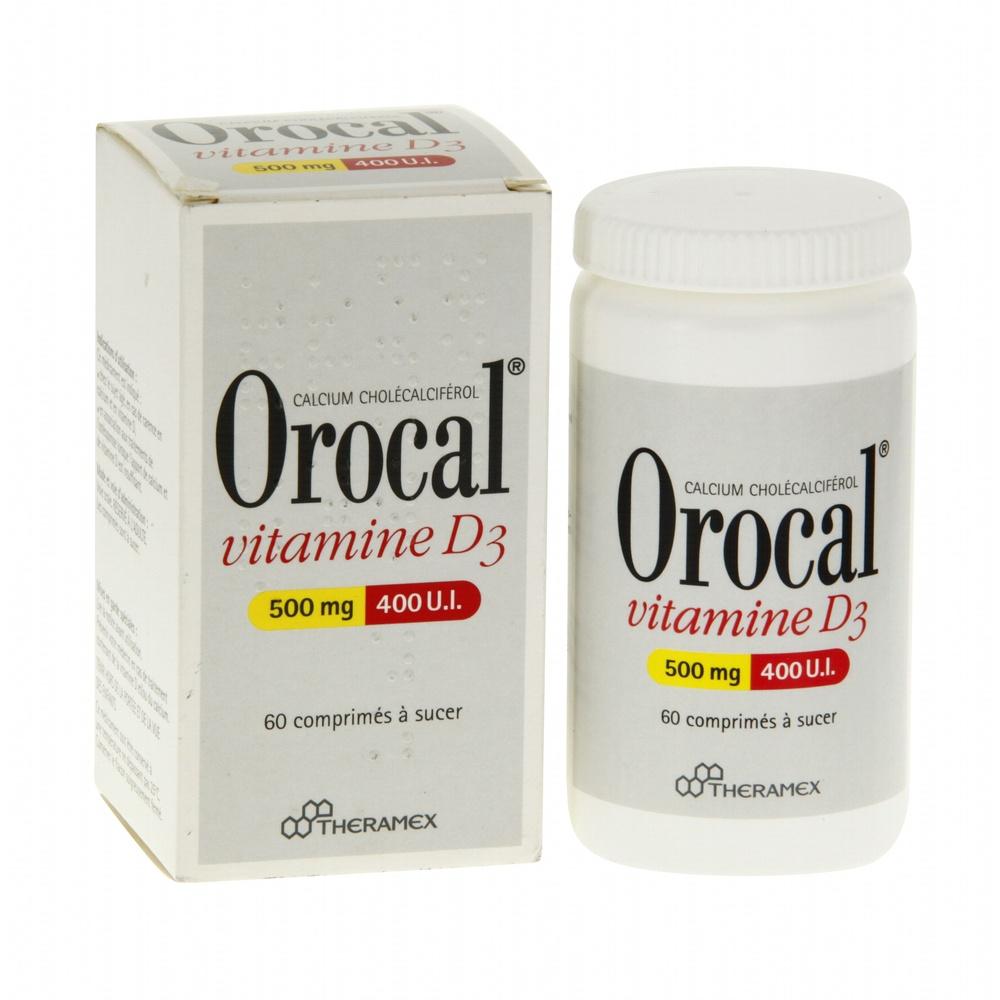 Orocal vitamine d3 500mg/400ui - 60 comprimés - theramex -193980