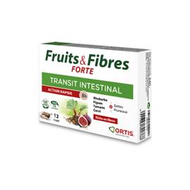 Ortis fruits & fibres forte transit intestinal action rapide 12 cubes - ortis -225329
