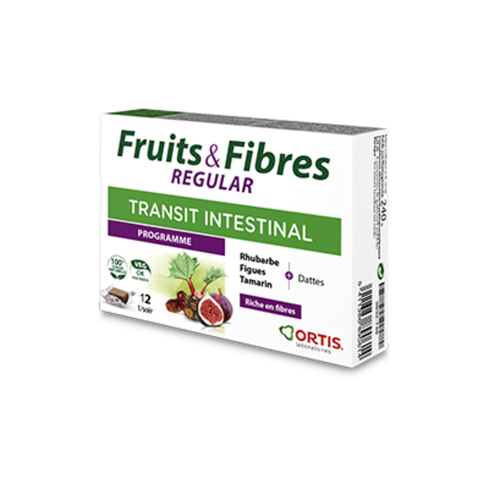 Ortis fruits & fibres regular transit intestinal programme 12 cubes - ortis -225333