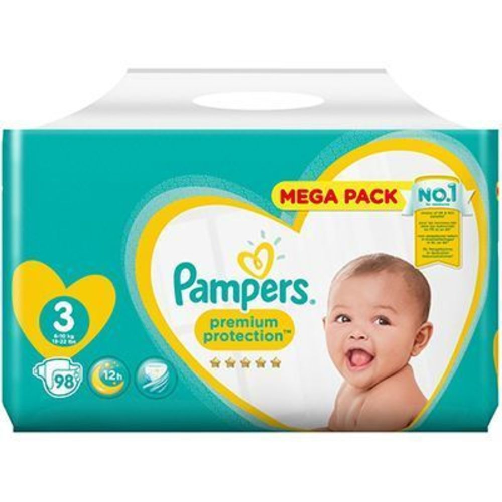 Pampers premium protection 6-10kg taille 3 - 98 couches - pampers -223521