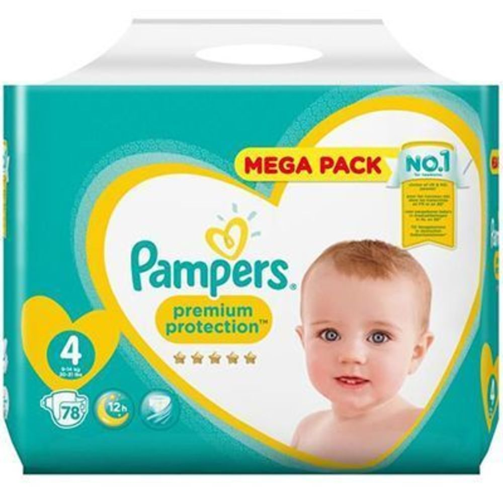 Pampers premium protection 9-14kg taille 4 - 78 couches - pampers -223522