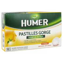 Pastilles gorge vitamine c orange 24 pastilles - humer -205824
