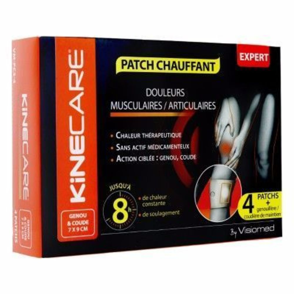 Patch Chauffant Genou Coude 7x9cm x4 - Kinecare -216470