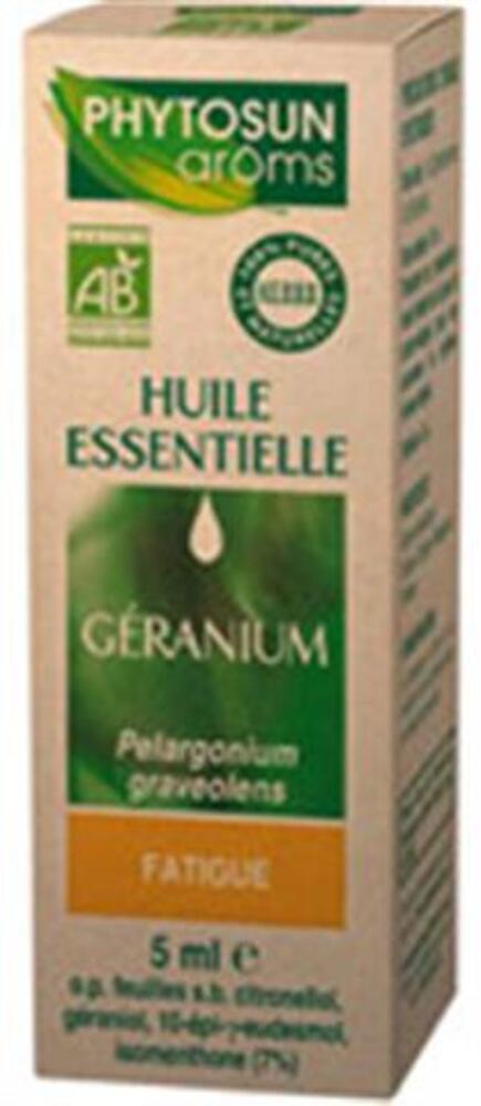 Pelargonium graveolens (geranium egypte) bio - 5.0 ml - huiles essentielles hebbd bio - phytosun arôms Fatigue-11766