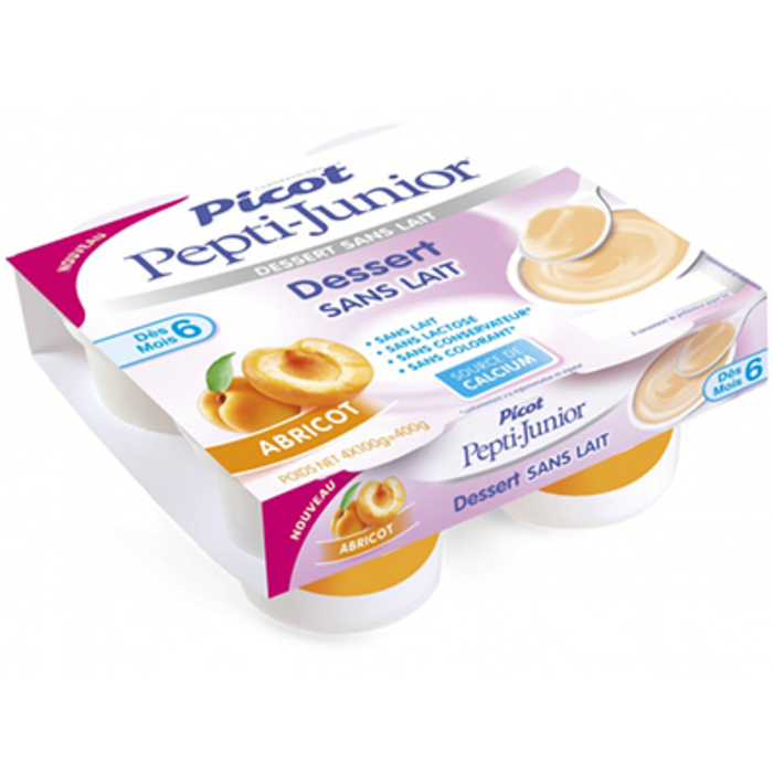 Pepti-junior dessert sans lait +6mois abricot 4x100g Picot-216697