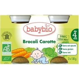 Petits pots brocoli / carotte  bio -dès 4mois - 2x130g - divers - babybio -133621