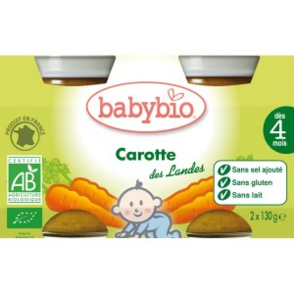 Petits pots carotte bio - dès 4mois - 2x130g - divers - babybio -133617