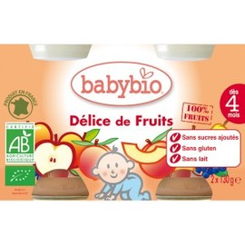 Petits pots délice de fruits bio - dès 4 mois- 2x130g - divers - babybio -133637