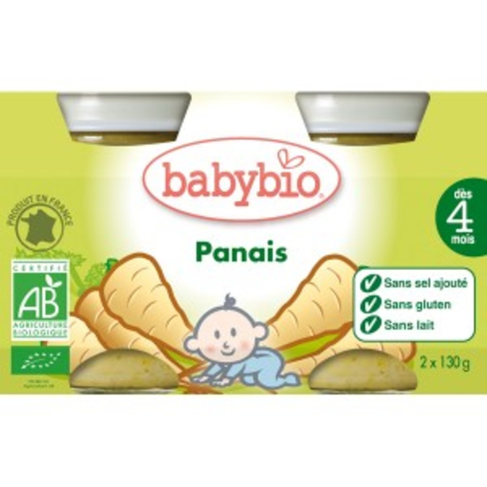 Petits pots panais bio - dès 4 mois - 2x130g - divers - babybio -133640