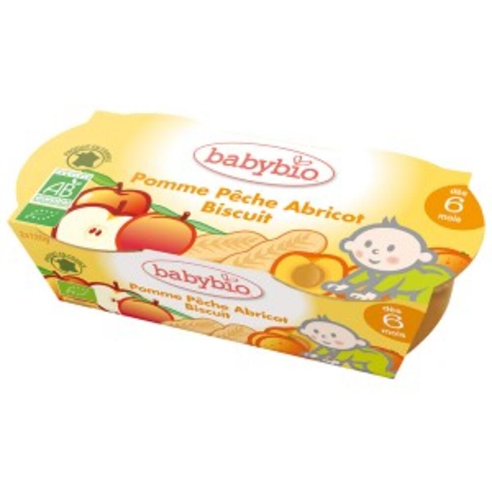 Petits pots pêches abricot bio et biscuits - 2.0 unites - bols fruits & desserts- dès 6 mois - babybio Mes biscuités Pêche Abricot Bio-123562