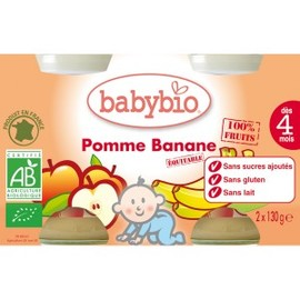 Petits pots pomme/banane bio - dès 4 mois- 2x130g - divers - babybio -133636