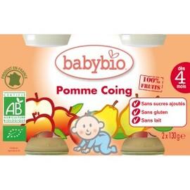 Petits pots pomme/coing bio - dès 4 mois- 2x130g - divers - babybio -133634