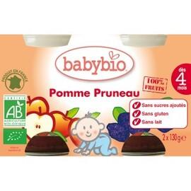 Petits pots pomme/pruneau bio - dès 4 mois- 2x130g - divers - babybio -133635