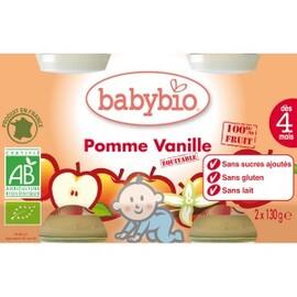 Petits pots pomme/vanille bio - dès 4 mois- 2x130g - divers - babybio -133629
