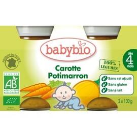 Petits pots potimarron/carotte bio -dès 4 mois - 2 x130g - divers - babybio -133618