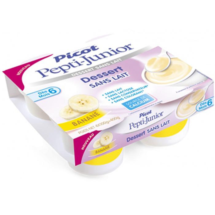 Picot pepti-junior dessert sans lait +6mois banane 4x100g Picot-216698