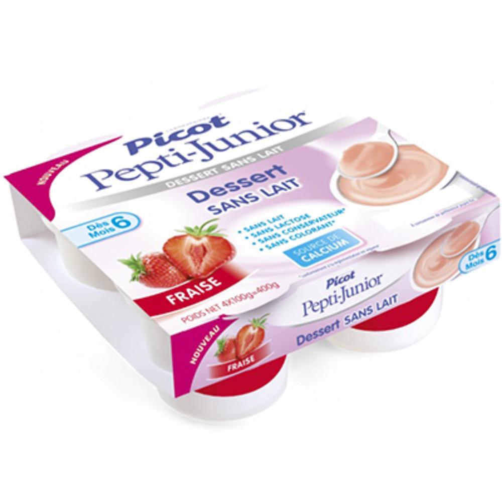 Picot pepti-junior dessert sans lait +6mois fraise 4x100g - picot -216700