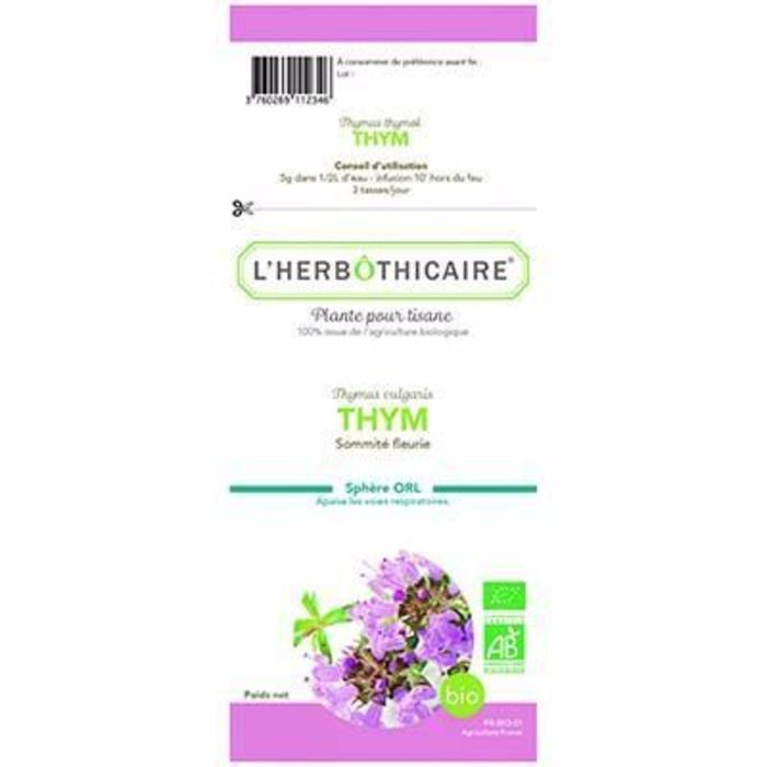 Plante pour tisane thym bio 80g L'herbothicaire-215318