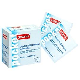 Pocket lingettes antibactériennes - boîte de 10 pochettes individuelles - assanis -198270