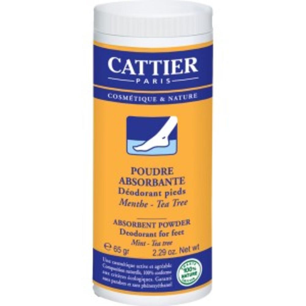 Poudre absorbante déodorant pieds - 65.0 g - soins des pieds - cattier Absorbe la transpiration, neutralise les odeurs, assainit et adoucit la peau-1534