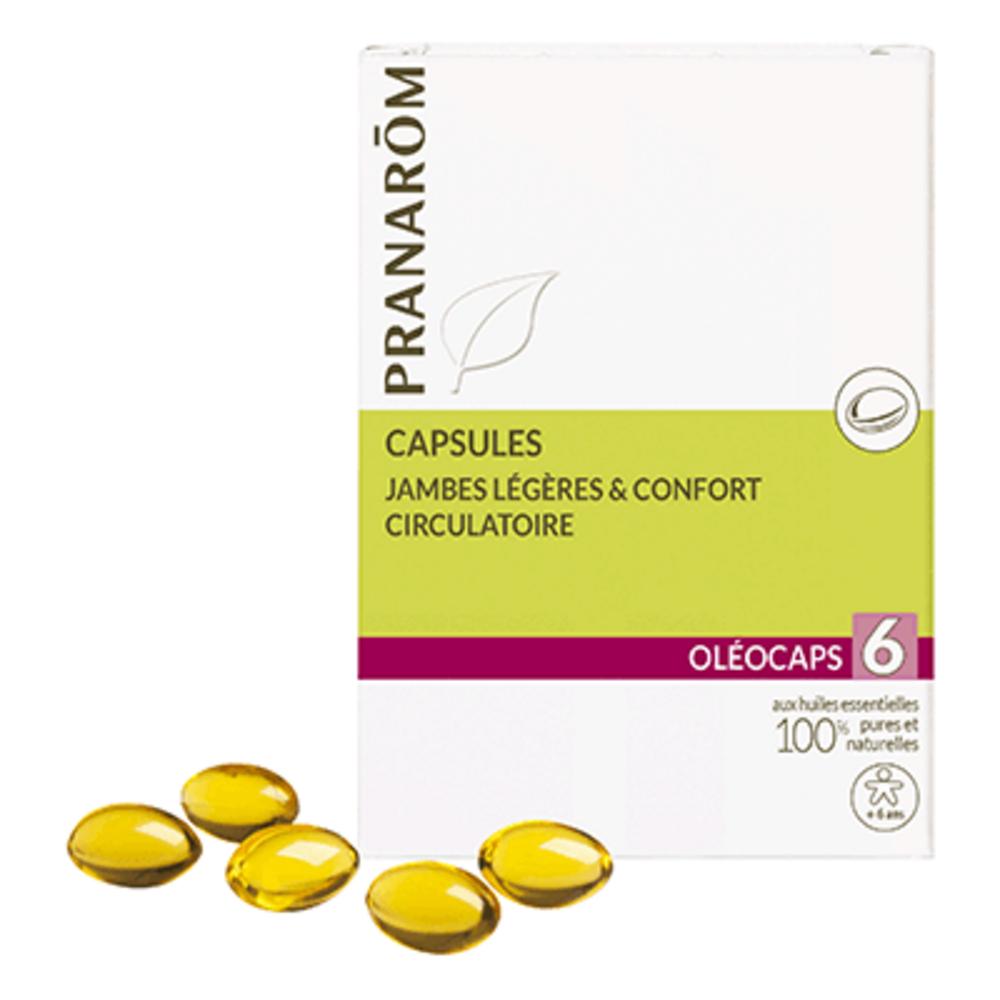 Pranarom oléocaps 6 jambes légères & confort circulatoire 30 capsules - divers - pranarom -189872