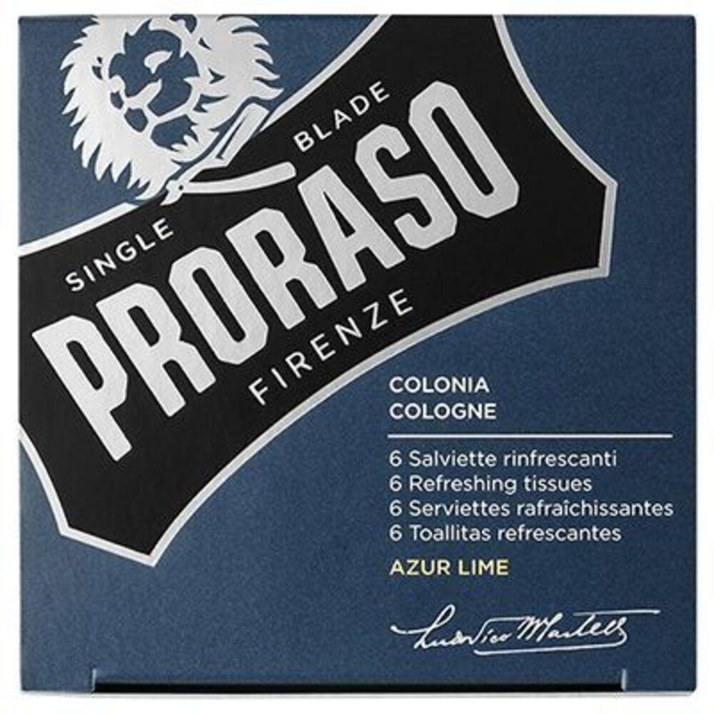 Proraso 6 serviettes rafraîchissantes azur lime cologne Proraso-219700