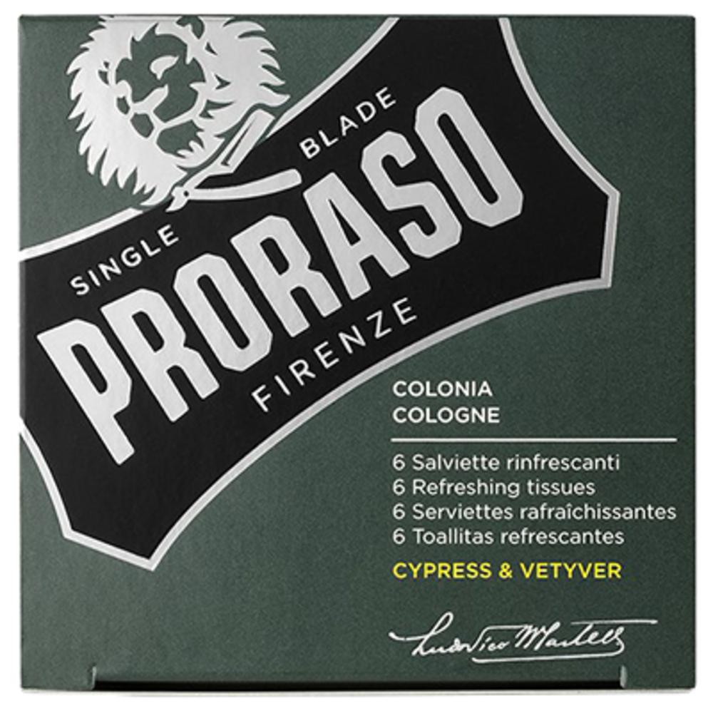 Proraso 6 serviettes rafraîchissantes cyprès vétiver cologne Proraso-219701