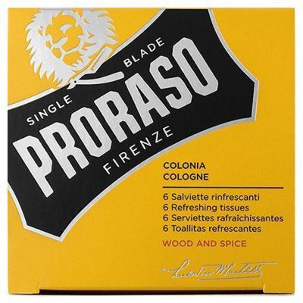 Proraso 6 serviettes rafraîchissantes wood and spice cologne Proraso-219702