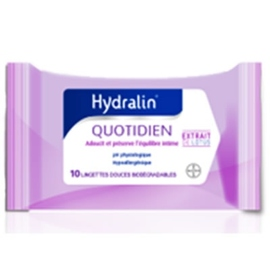 Quotidien - 10 lingettes intimes - 10.0 unites - gamme hydralin - hydralin -83725