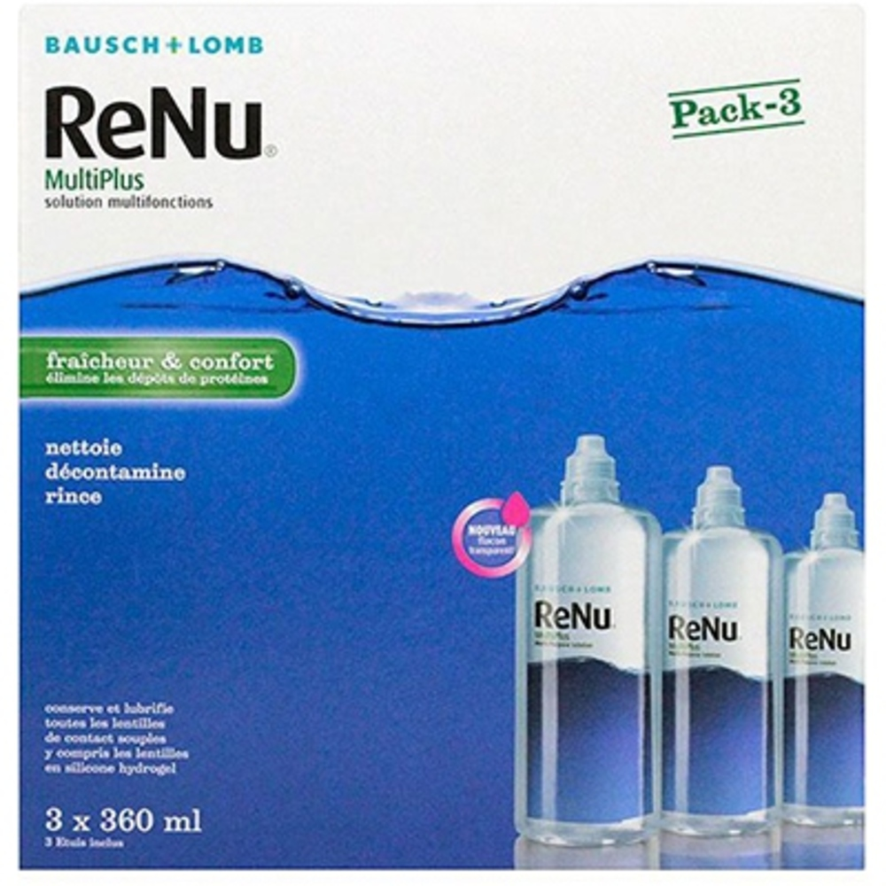 Renu multiplus solution multifonctions - 3x360ml - 1080.0 ml - bausch & lomb -190974