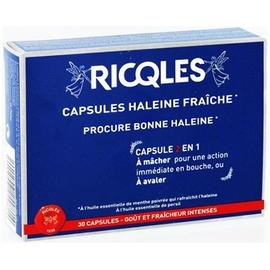 Ricqles capsules haleine fraîche - 30.0 unites - hygiène bucco-dentaire - ricqles -132032