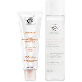 Roc soleil-protect fluide anti-taches brunes unificateur spf 50+ 50 ml + roc lotion micellaire confort extrême 200ml offert - roc -221397