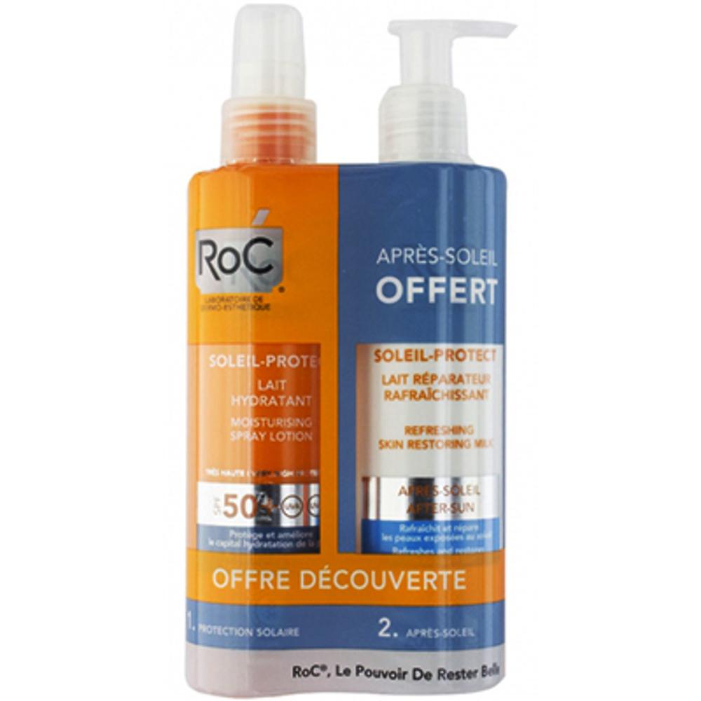 Roc soleil-protect lait hydratant spf 50+ 200ml + lait réparateur rafraîchissant 200ml offert - roc -221402