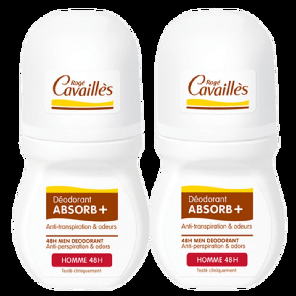 Rogé Cavaillès Déodorant Absorb+ Homme 48h Roll-on 2x50ml - 50.0 ml - Déodorants - Rogé Cavaillès -140719