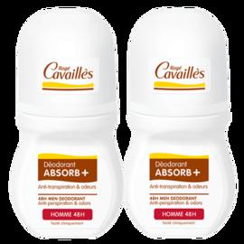 Roge cavailles déodorant absorb+ homme 48h roll-on 2x50ml - 50.0 ml - déodorants - rogé cavaillès -140719