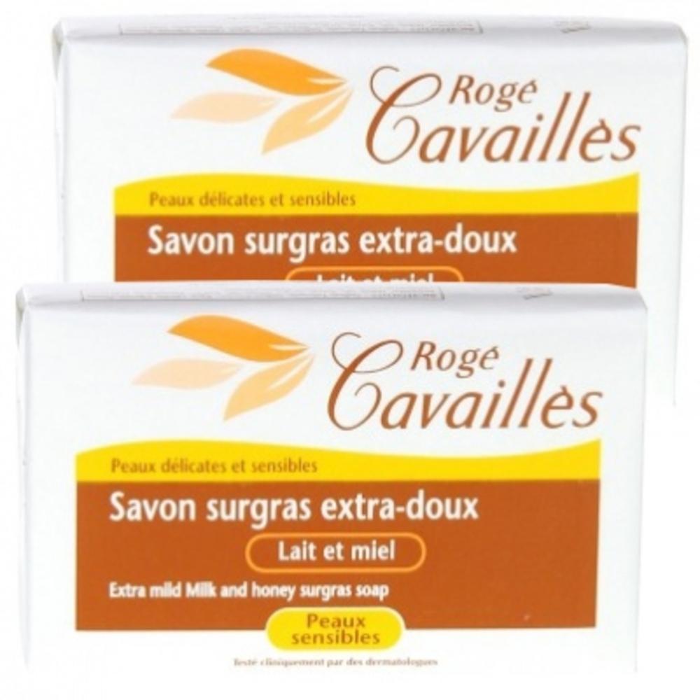 Roge cavailles savon surgras extra-doux lait miel - lot de 2 - 250.0 g - savons - rogé cavaillès -82539