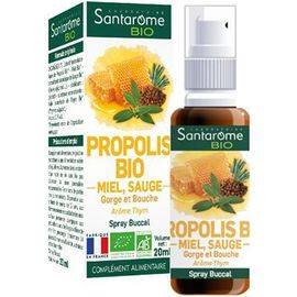 Santarome bio spray buccal propolis bio miel sauge 20ml - divers - santarome -140316