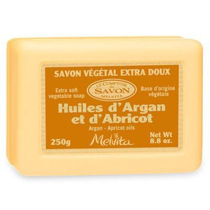 Savon végétal extra-doux huiles d'argan et d'abricot bio 250g Melvita-213489