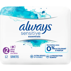 Sensitive essentials serviettes taille 2 ultra long avec ailettes x12 - 12.0 u - always -225253
