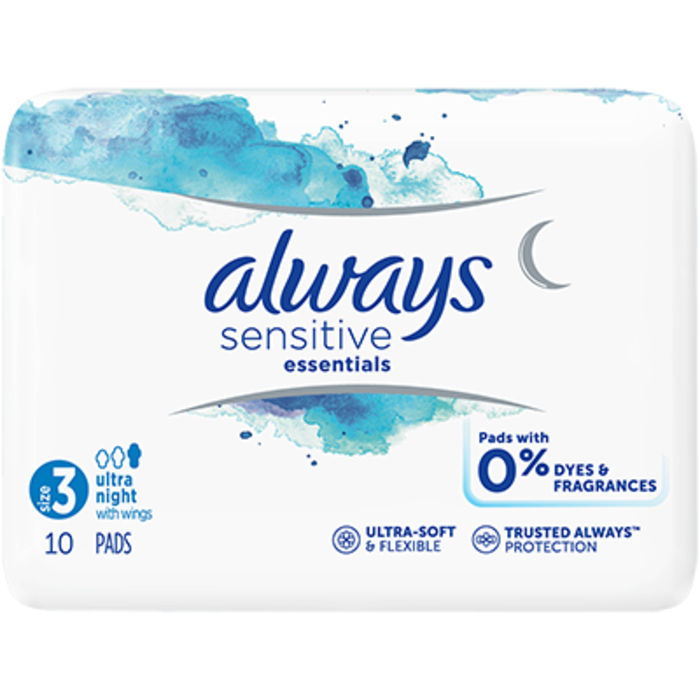 Sensitive essentials serviettes taille 3 ultra night avec ailettes x10 Always-225254