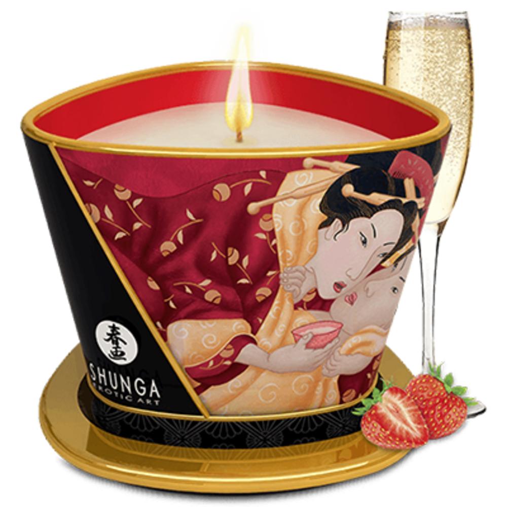 Shunga bougie de massage romance vin pétillant à la fraise - shunga -223858