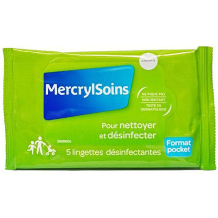 Soins pocket 5 lingettes désinfectantes Mercryl-215484