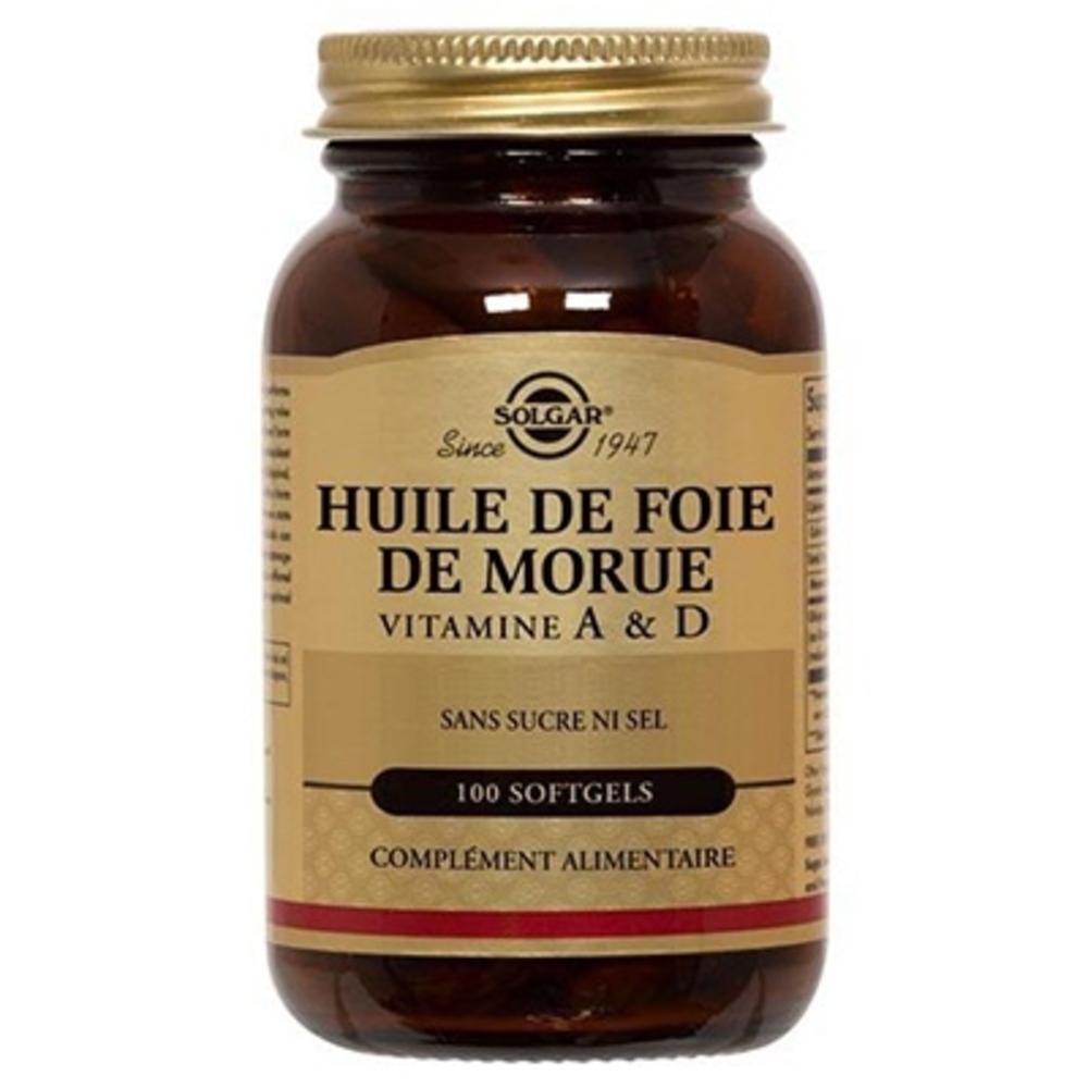 Solgar huile de foie de morue 100 softgels - 100.0 unites - vitamines a & d - solgar -140960