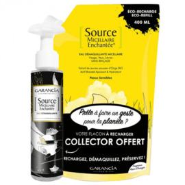 Source micellaire enchantée recharge eau démaquillante fleur d'oranger 400ml + flacon vide collector - garancia -225876